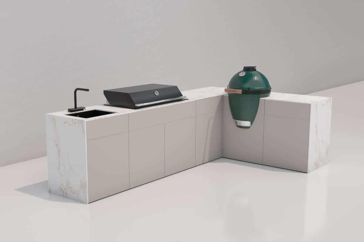 openair kitchen PURE L-Shape mit Fulgor Milano und Big Green Egg